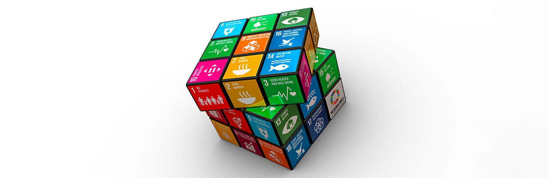 cubo colorato su cui sono impressi i simboli corrispondenti agli obiettivi di sviluppo sostenibile